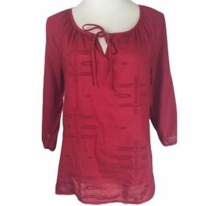 Old Navy Red Folk Hobo Embroidered Peasant Blouse